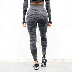 Derrimut 24:7 Ladies Camo Seamless Leggings - Charcoal