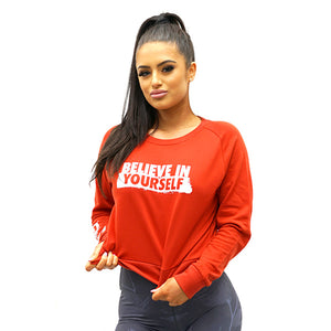 Derrimut 24:7 - LADIES Believe In Yourself JUMPER - RED