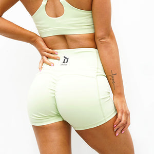 Derrimut 24:7 - Ladies Premium Scrunch Booty Shorts - Lime