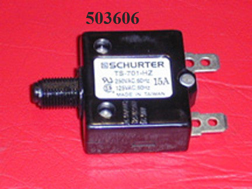 BREAKER-CIRCUIT 15 AMP PUSH ON CONN 0.250 TAB CARLING