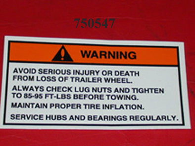 DECAL-WARNING 'CHECK LUG NUTS' '01-'14( NEED 2)