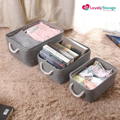 SPACE-SAVER™ Storage Baskets | Pack of 3 space-saving organiser box book basket foldable storage box toy storage baskets storage baskets fabric storage boxes with lids really useful storage boxes cheap boxes decorative storage boxes