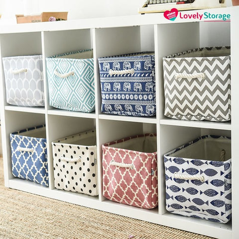 SPACE-SAVER™ Storage Baskets | Pack of 3 book storage box blue box storage fabric storage boxes cheap boxes pretty storage boxes clothes storage boxes toy storage bag bag storage ideas book basket space-saving