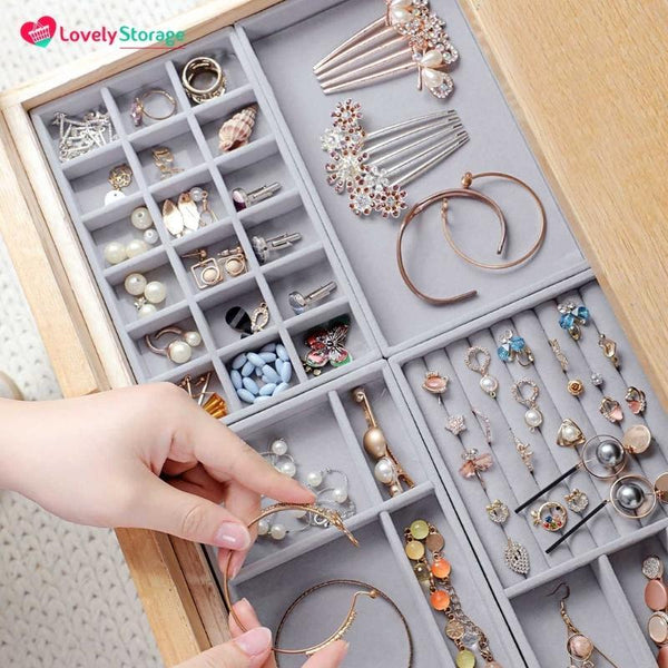 Jewellery-Tray™ Drawer Organiser Set of 4 jewelry display earring box jewelry gift boxes ring tray Jewellery Drawer Organiser Box diy jewelry holder - Lovely Storage