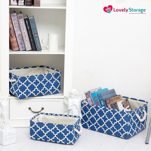 SPACE-SAVER Storage Baskets | Pack of 3 book storage box blue box storage storage boxes with lids really useful storage boxes storage baskets storage bags toy storage baskets decorative storage baskets space-saving - Lovely Storage