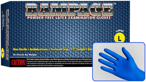 Rampage 15 Mil Powder Free High-Risk Latex Exam Gloves, Case
