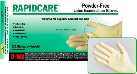 Rapidcare Ultra-Duty Powder Free 9mil Latex Exam Gloves, Case