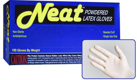 Neat Lightly Powdered Industrial Grade Latex Gloves, Case