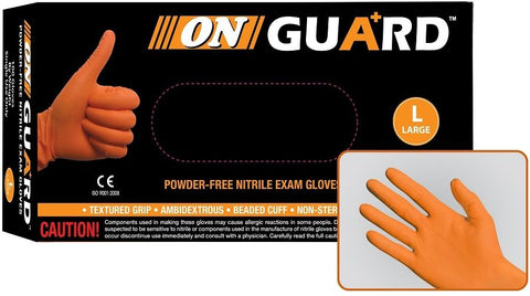 On Guard 6 Mil Powder Free Orange Nitrile Exam Gloves, Case