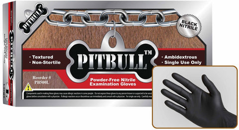 PitBull 6 Mil Powder Free Black Nitrile Exam Gloves, Case