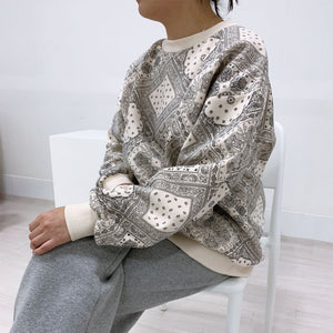 Paisley fleece-lined sweatshirt(for human use)