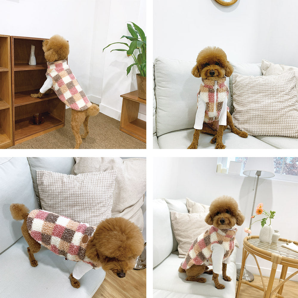 Warm Fluffy Dumbled Check fleece
