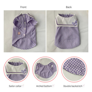 Romance check sailor naming blouse