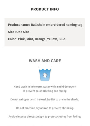 Ball chain embroidered naming tag