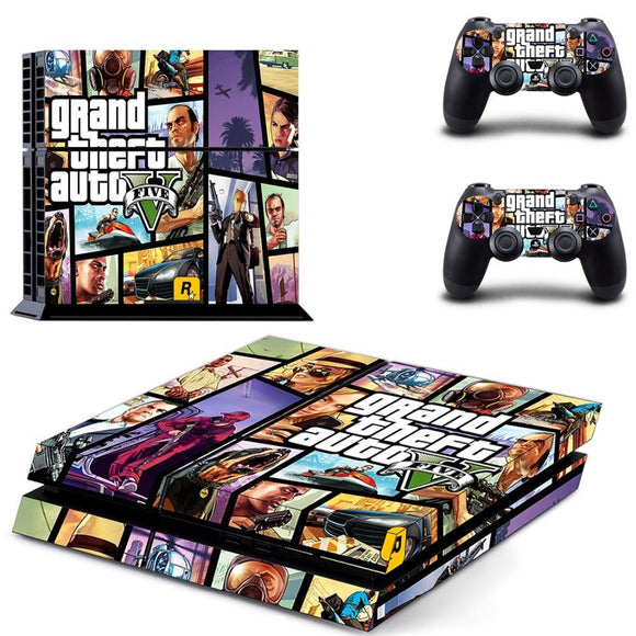 GTA 5 Decal Skin PS4 Cover For Playstaion 4 Console PS4 Skin Stickers+ 2Pcs Controller Protective Skins