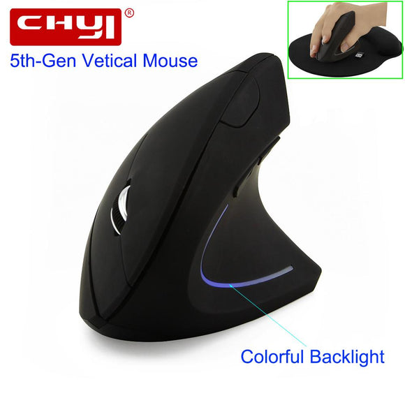 Wireless Mouse Ergonomic Optical 2.4G 800/1200/1600DPI Colorful Light Wrist Healing Vertical Mice