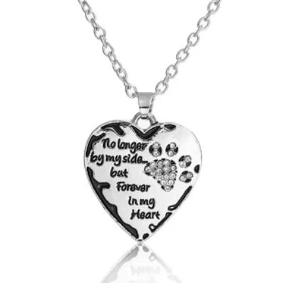 "Pet Memorial Necklace Antique Silver Dog's Paw Heart Clear Rhinestone Enamel 20 4/8"" long,"