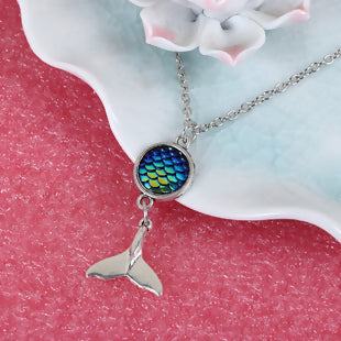 "Resin Mermaid Fish Scale Necklace Antique Silver Blue AB Color Round 20 5/8"" long,"
