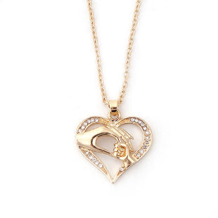 Mother and Child Gold Plated Heart Pendant
