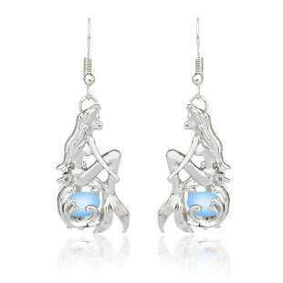 Acrylic Mermaid Fish/ Dragon Scale Earrings Silver Tone Skyblue Round Glow In The Dark