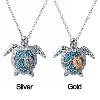 Fashion Silver Tortoise Necklace With Chain Sea Turtle Mother And Baby Necklace
