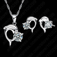 Dolphin Design Pendant 925 Sterling Silver Fine Jewelry Necklace Earring Set