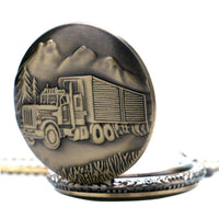 Vintage Bronze Retro Big Truck Pocket Watch with Chain for Car Truck Driver