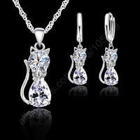 Pure 925 Sterling Silver Cat Shaped Set Necklace and Earrings