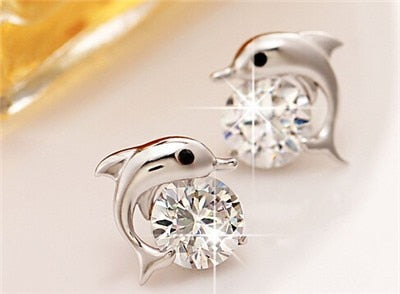 real zircon stone dolphin Stud Earrings quality Silver-plated