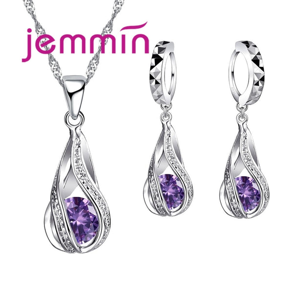 Top Quality 925 Sterling Silver & Purple Crystals Pendant Necklace Earrings set