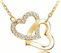 AAAA+ Rhinestone Double Heart Pendant Necklace - 4 Color Options