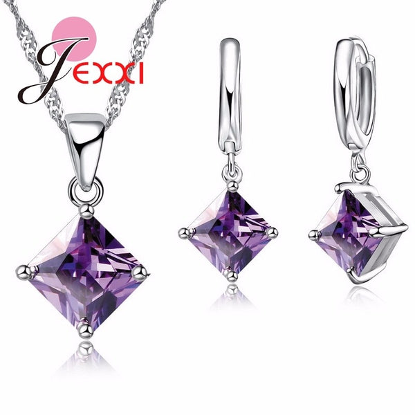 Amethyst and 925 Sterling Silver Pendants Necklace Earrings Set