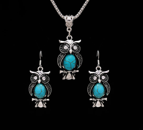 Vintage Owl Jewelry Sets Necklace Earring Boho Natural Stone
