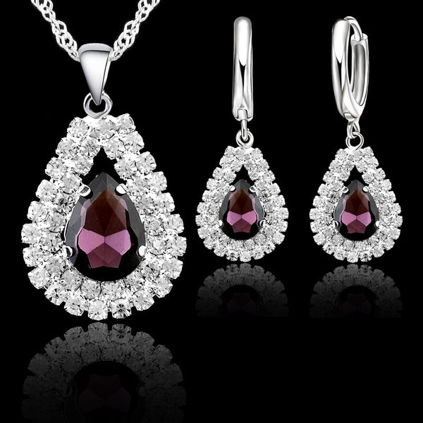 Fine Water Drop Pendants Necklace & Earring Set - 925 Sterling Silver