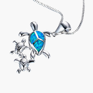 Necklace Silver Tone Blue Sea Turtle Animal