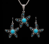 Vintage Indian Bohemian Stone Starfish Necklace & Earrings