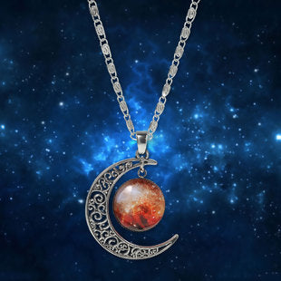Crescent Moon Glass Cabochon Pendant Necklace Antique Silver Multicolor