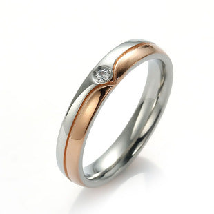 Stainless Steel Unadjustable Finger Rings Rose Gold & Silver Tone Clear Cubic Zirconia US size 7