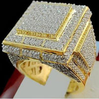 Men's Rings Gold Plated Square Pave Clear Rhinestone Size 10