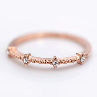 Copper Rings Rose Gold Clear Rhinestone