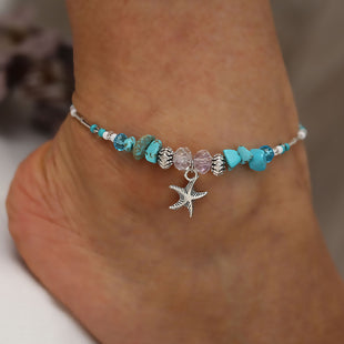 "Anklet Green Blue Star Fish 9 7/8"" long,"