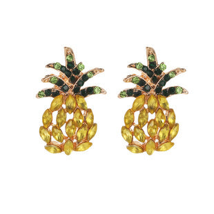 Stud Earrings KC Gold Plated Pineapple/ Ananas Fruit Green & Yellow Rhinestone