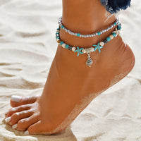 Multilayer Layered Anklet Silver Tone Blue Conch/ Sea Snail Star Fish