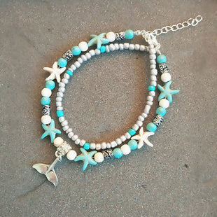 Multilayer Layered Anklet Silver Tone Blue Fishtail