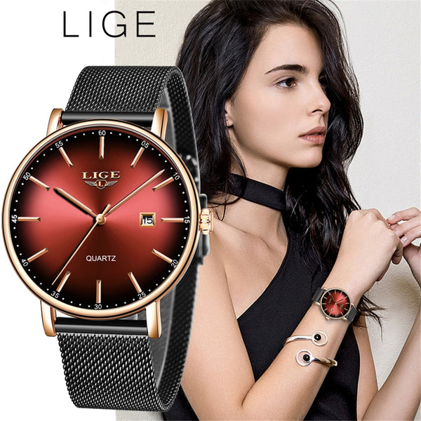 LIGE Ladies Mesh Belt Ultra-thin Watch - Stainless Steel Waterproof Clock Quartz Watch