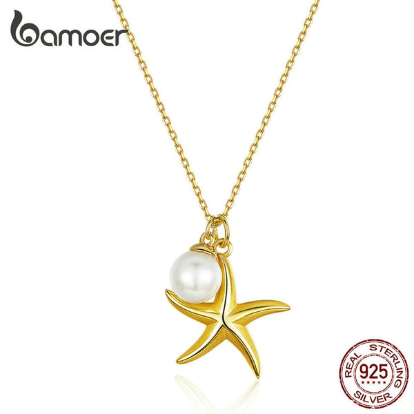 Starfish with Pearl Pendant Necklace for Women Genuine 925 Sterling Silver