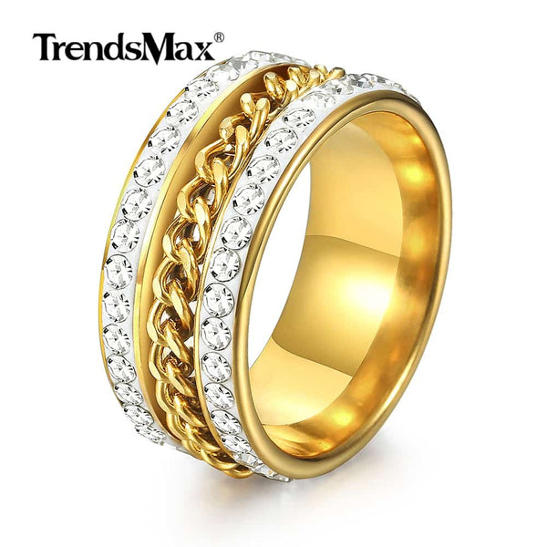 Iced Out Rhinestone Rings Curb Link Chain Ring
