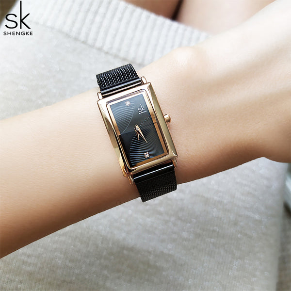 Shengke New Women's Watch Rectangle Dial - Elegant Design Quartz