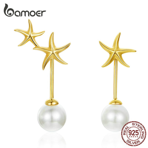 925 Sterling Silver Starfish Ocean with Pearl Stud Earrings for Women