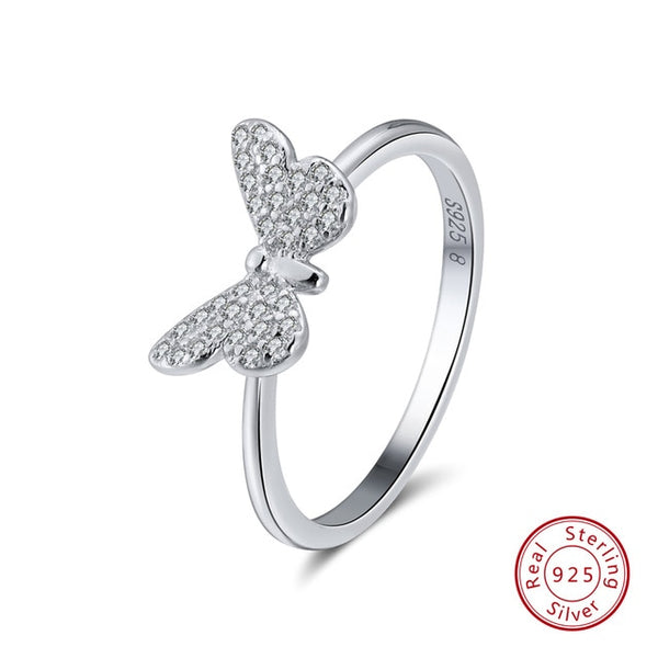 Genuine 925 Sterling Silver Rings Cute Butterfly Silver or Gold Color